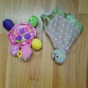Turtle Baby Toy Bundle Lovie and Hanging Mirror